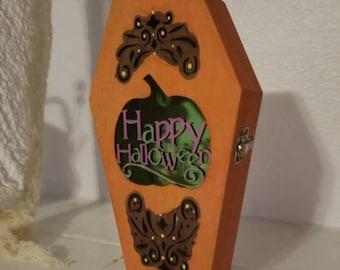 Happy Halloween Pumpkin Light Up Coffin Box