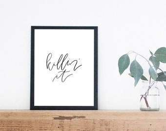 Killin It Print Digital Download Minimalist Printable Wall Art Office Decor Simple Home Friendship Gift Calligraphy