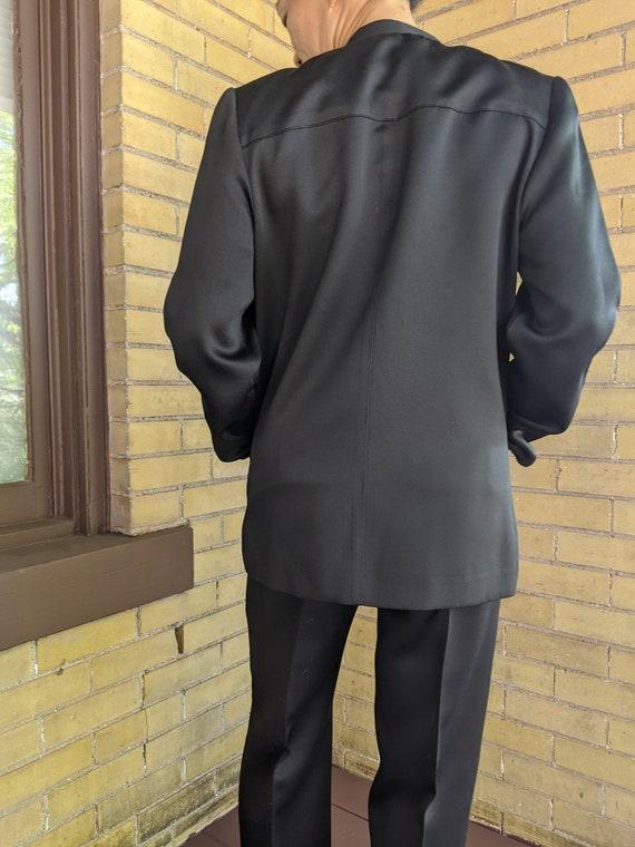 Vintage 80s Asian Style Sleek Black Pant Suit - image 6