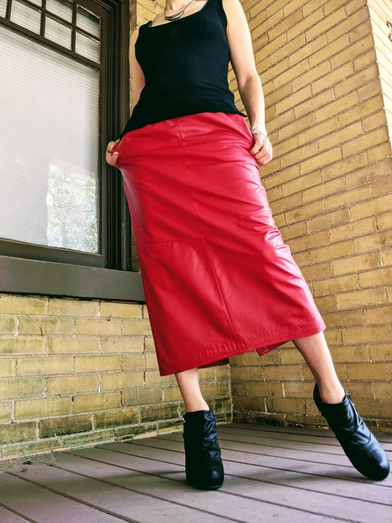 Vintage 80's Screaming Red Leather Pencil Skirt