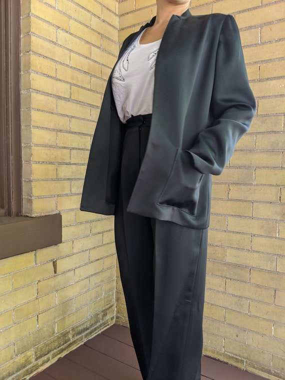 Vintage 80s Asian Style Sleek Black Pant Suit - image 7