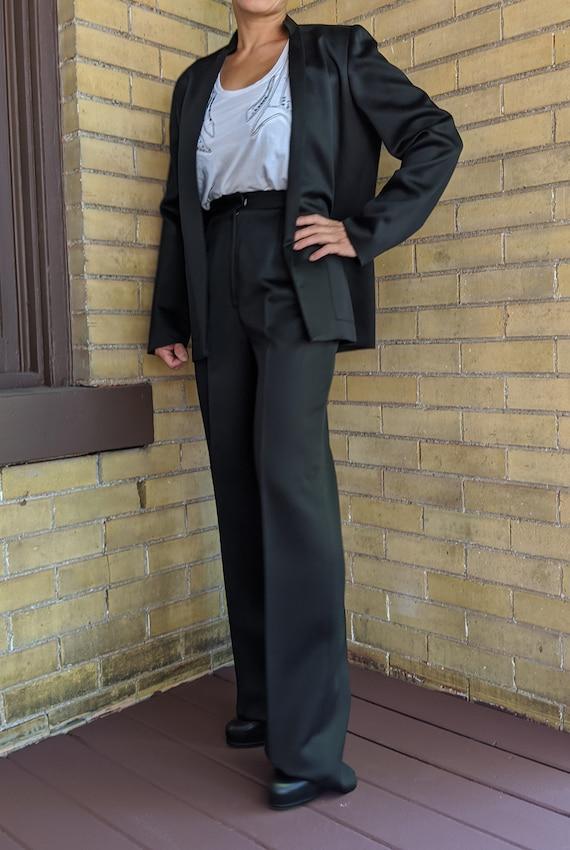 Vintage 80s Asian Style Sleek Black Pant Suit