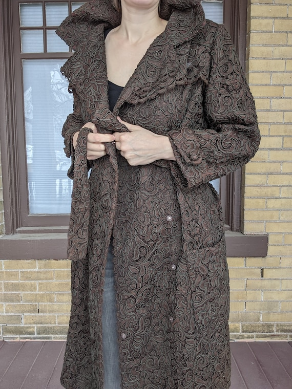 Vintage 40s Luxe Chocolate Lace Dress Coat Trench