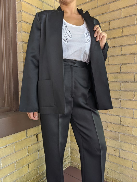 Vintage 80s Asian Style Sleek Black Pant Suit - image 4