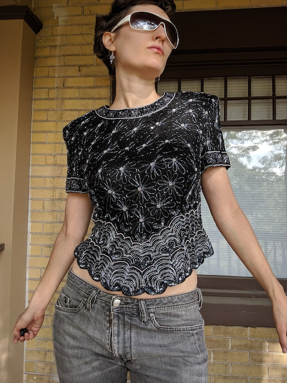 Vintage Sequined Cropped Boho Top