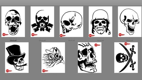 9 Skull Patterns Scroll Saw Woodworking Stencils Crafts