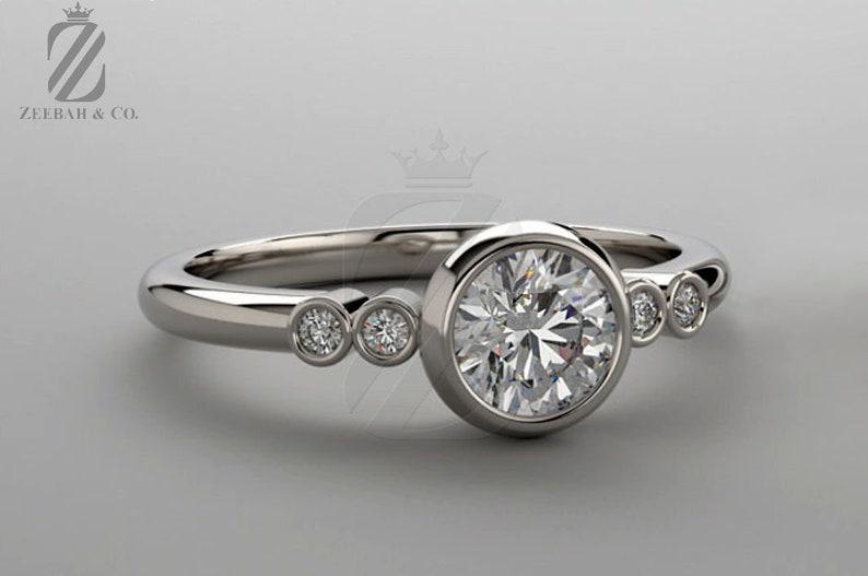 1bf5d9849 Bezel Set Moissanite & Diamond Ring Forever One Moissanite   Etsy