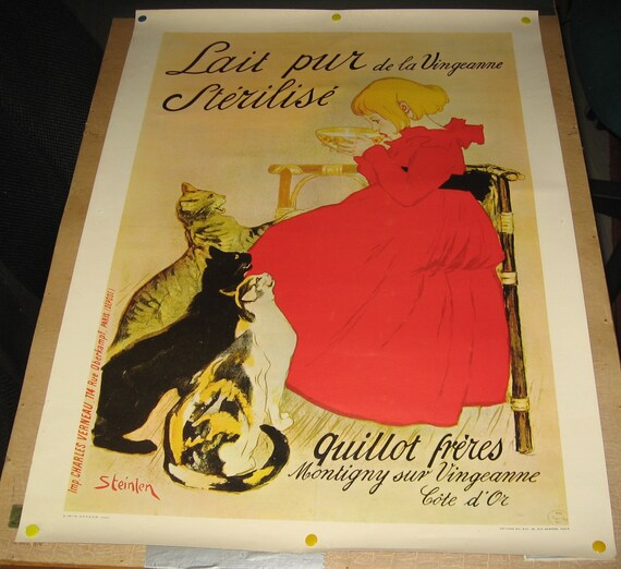 AV53 Vintage Milk Lait pur sterilise Cat Advertisement Framed Poster A4//A3