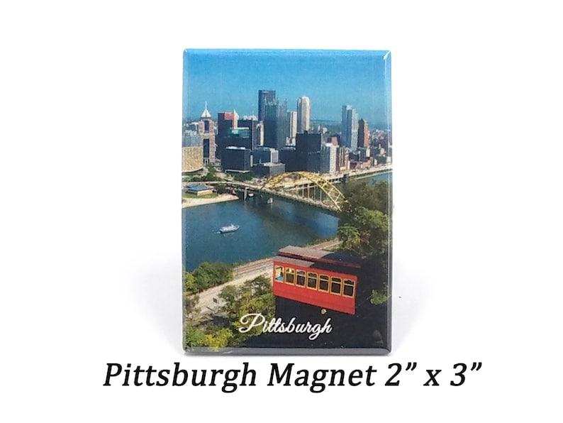 Pittsburgh Skyline Incline Magnet  Pittsburgh Magnet image 0