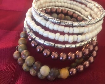 Brown and Silver Wrap Bracelet