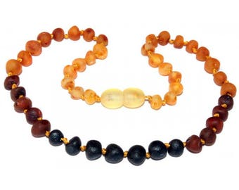 Genuine Raw Baltic Amber Baby Teething Necklace Rainbow