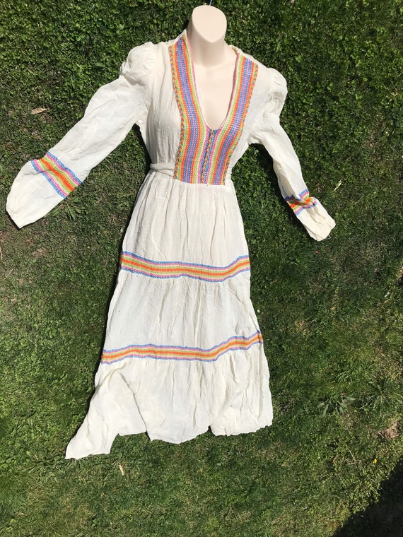 1960's Boho Hippie Belted Maxi Dress - image 2