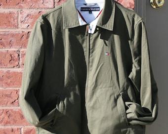 Vintage 90's Tommy Hilfiger Military Green Bomber Jacket