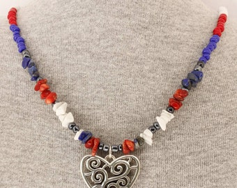 Red White and Blue,USA,Puerto Rico,Dominican Republic,Heart,Bamboo Coral,Howlite,Soladite,Love,Necklace Set,Family,SeedBeads,Earrings