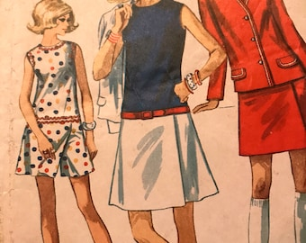 Classic Vintage Culotte Dress and Jacket Pattern---Simplicity 8098---Size 16  Bust 38  UNCUT