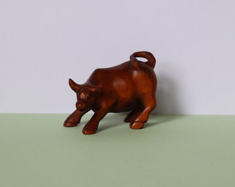 Magnificent Carved Wooden Bull  Statue Sculpture