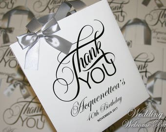 Thank You Birthday Gift Bags With Ribbon Bow