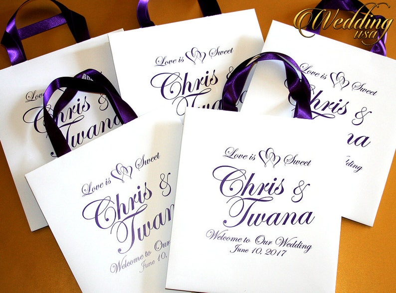 Elegant Black Paper Bags Out of Town Hotel Bags 10 Wedding Gift Bags with ribbon /& name Personalized Paper Bags Custom Wedding Bags