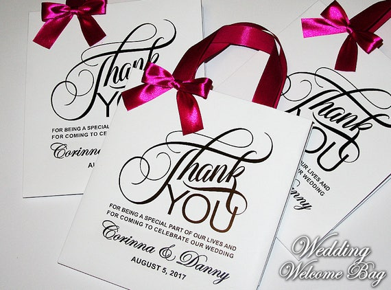 Thank You Gift Bags For Wedding Guest With Satin Ribbon Bow Etsy