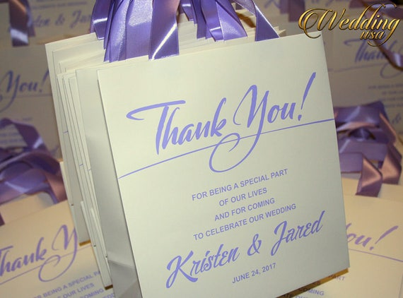 20 Lavender Ivory Thank You Gift Bags Custom Hotel Wedding Etsy