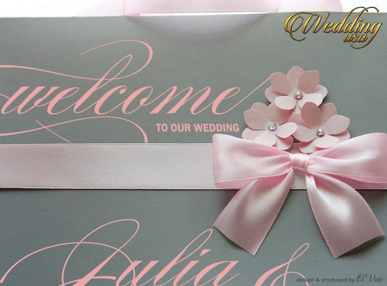 Guest or Bridal Shower gift bags Custom paper bags 50 Rose /& Gray Personalized Out of Town Welcome Bag with satin ribbon and your tag