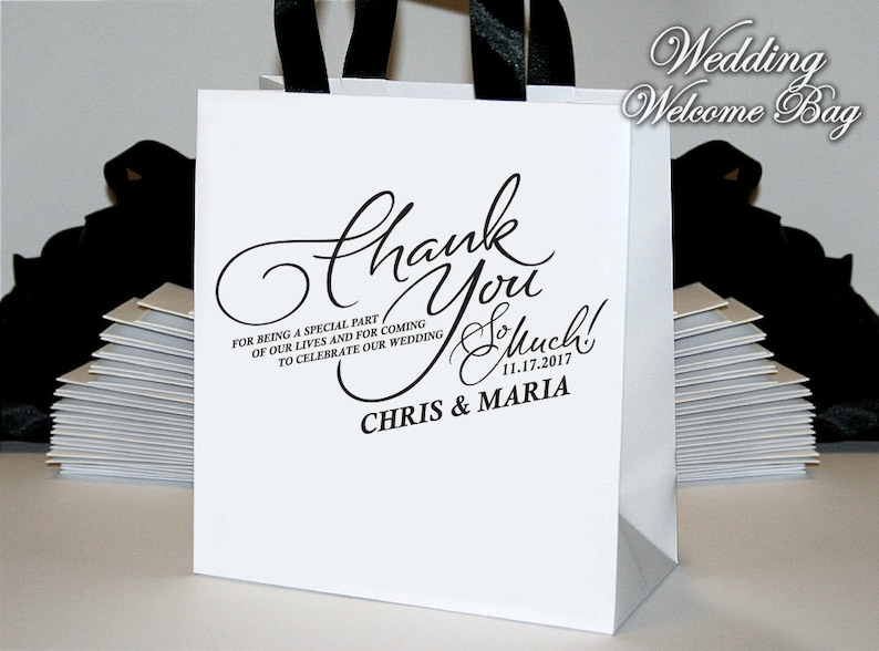 20 Personalized Thank you Wedding Welcome bags with black ribbon and tag Welcome bags for wedding guests Custom Wedding Welcome bags