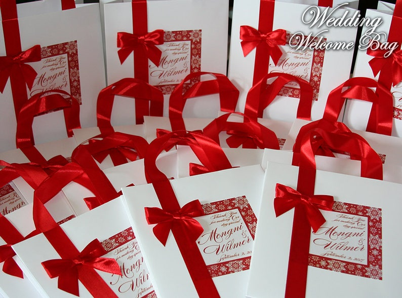 Thank You Wedding Gift Bags With Satin Ribbon Bow And Your Etsy