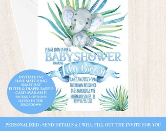 It's A Boy Baby Shower Invitations, Elephant Blue Birthday Baby Shower Geofilter & Invites, Packages in Dropdown, Custom Baby Shower