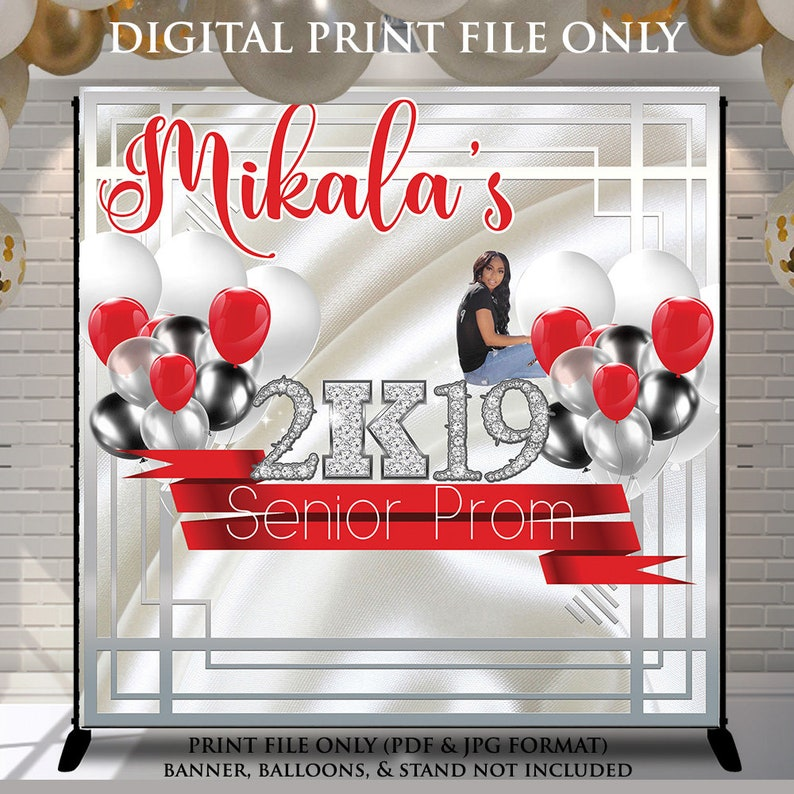 Up to 8x8 Add my Pic Birthday Banner Print Yourself Design File Photo Birthday Backdrop Red Silver and White Prom Send Off