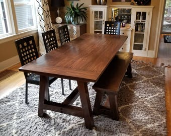 farmhouse table solid wood farmhouse dining table farmhouse kitchen table harvest table - Farmhouse Kitchen Table