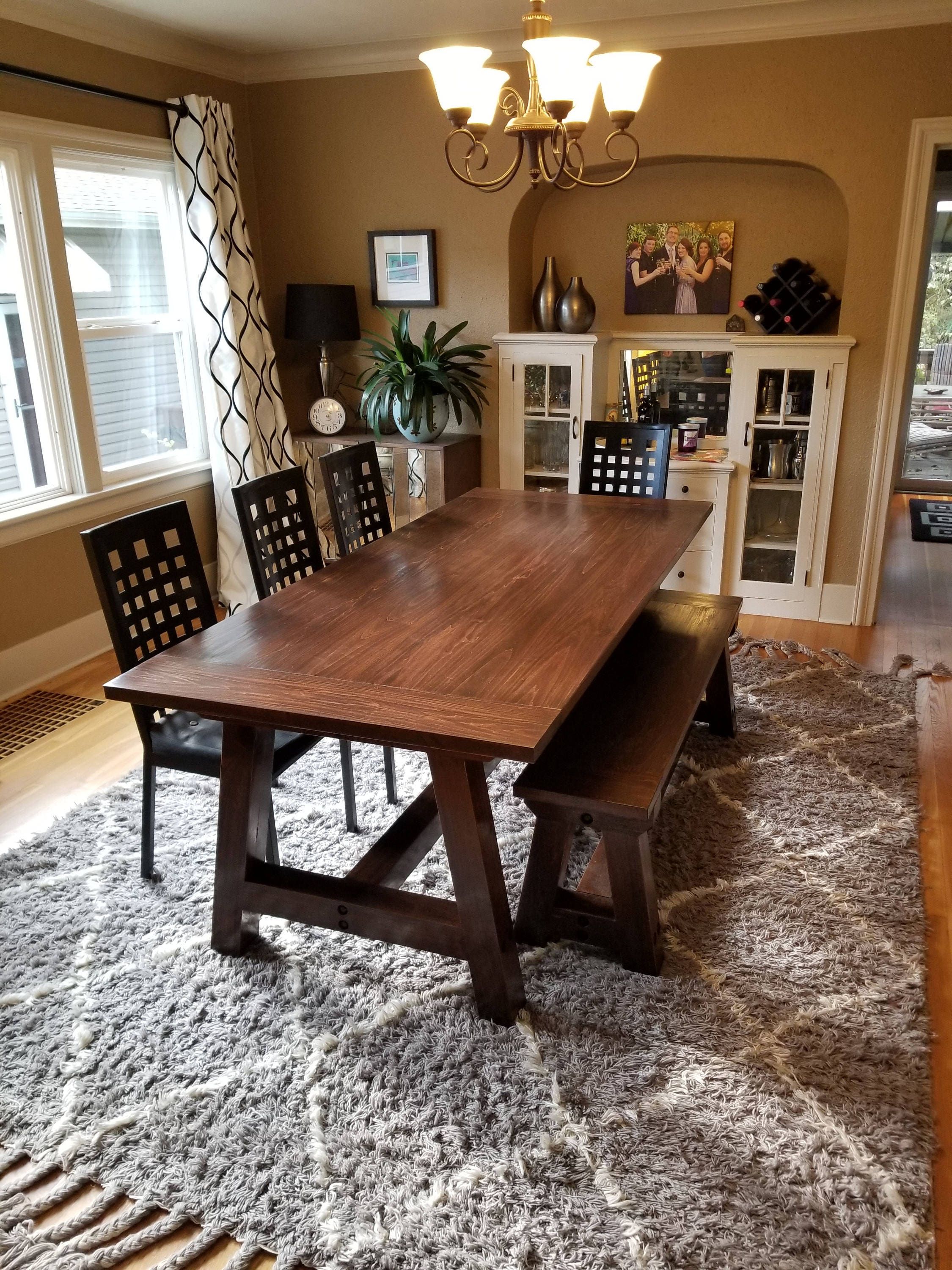 Farmhouse Table Solid Wood Farmhouse Dining Table