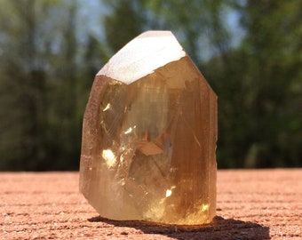 """Unpolished CITRINE Generator Rough Point 1.5""""- Raw Crystal- Natural Untreated FreeStanding- Healing and Meditation Crystal- South Africa 31g"""