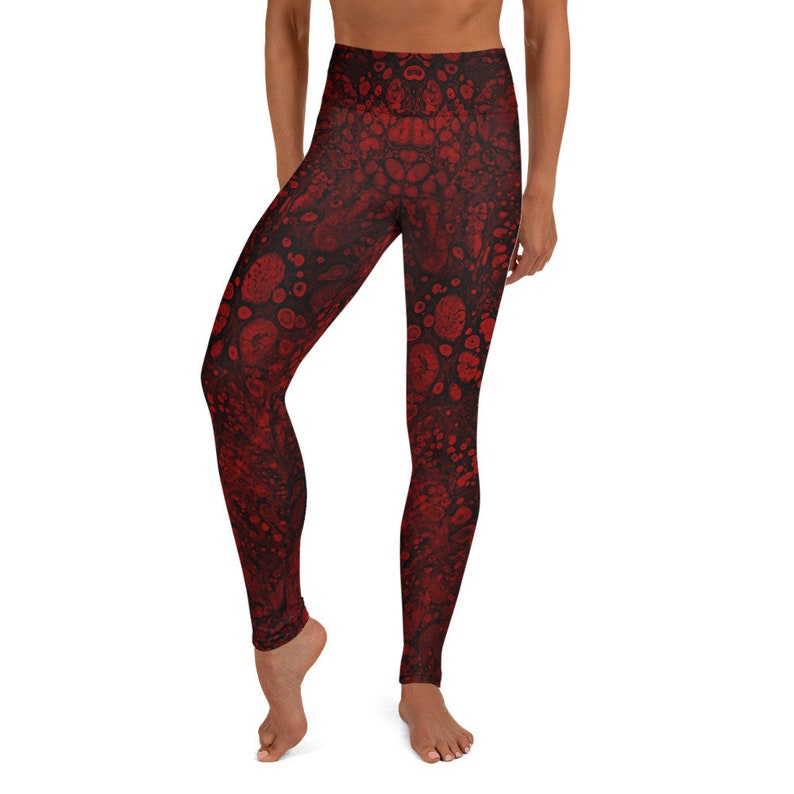 Black and Red Funky Tights Festival Leggings for Women Pattern Tights Red Blood Cell Leggings High Waist Yoga Pants Halloween Leggings