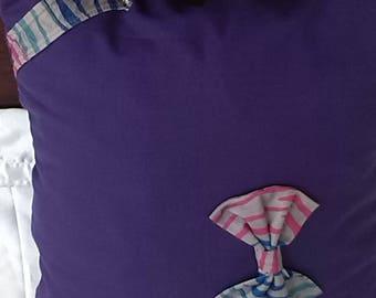 Cushion - Handmade Vintage  Kids Purple Tiger Bow Cushion
