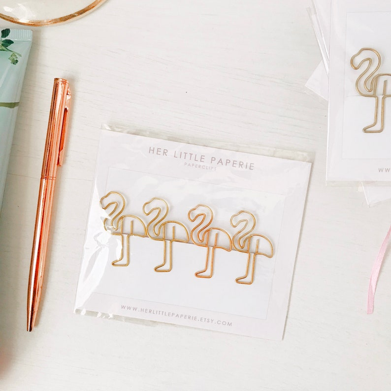 Paperclips Gold Paperclips Flamingo Paperclips cute image 0
