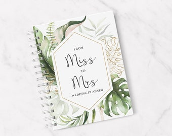 From Miss to MRS Wedding Planner, Botanical, Laminated, Wedding Planner, Planner for Bride, Wedding Organiser, Engagement Gift