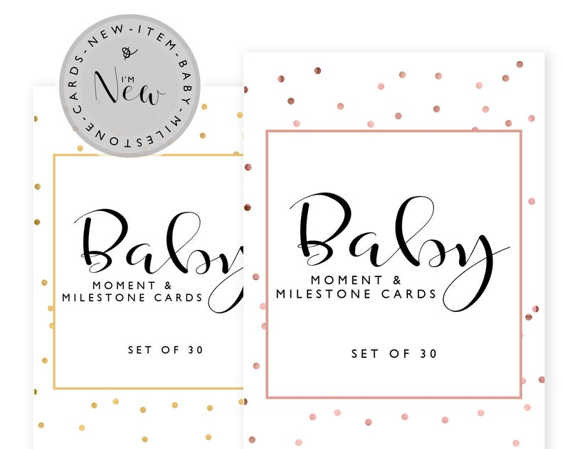 Gold Baby Milestone Cards Baby shower gift New Baby Gift image 0