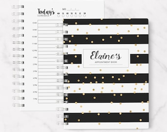 Marble Daily Appointment Planner Notebook, salon appointment spiral notebook, Writing journal, personalized, hair appointment book