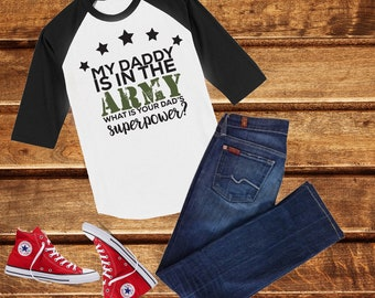 36033fca Dad Army, Daddy is my HERO, Military Homecoming top, Military Baby Outfit,  Kids Deployment Shirt, Military Kids Shirt, unisex shirt