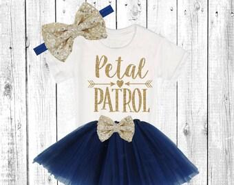 ad1b2824a09 Petal Patrol. Flower Girl Shirt. Flower Girl Outfit. Flower Girl Tutu Outfit.     Solid Navy