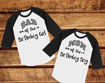 Dad Mom Of The Birthday Boy Girl Black Raglan Shirt Jersey Parents Child