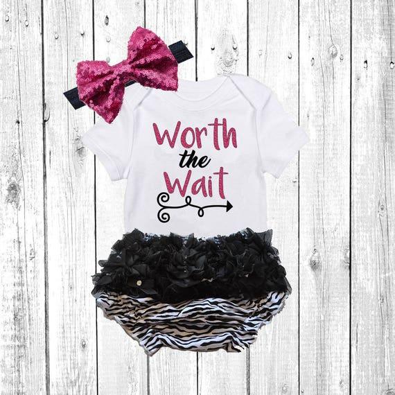 f762f889e Hello World Newborn Outfit worth the wait Baby Girl Newborn