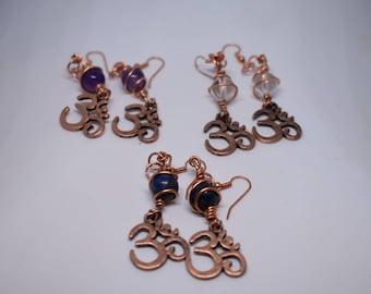 Om crown chakra earrings