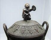 Large detailed Antique Japanese bronze Incense burner Censer Cymbal player Musician figurine Phoenix Qilin Meiji Japan Asian metal art Gift
