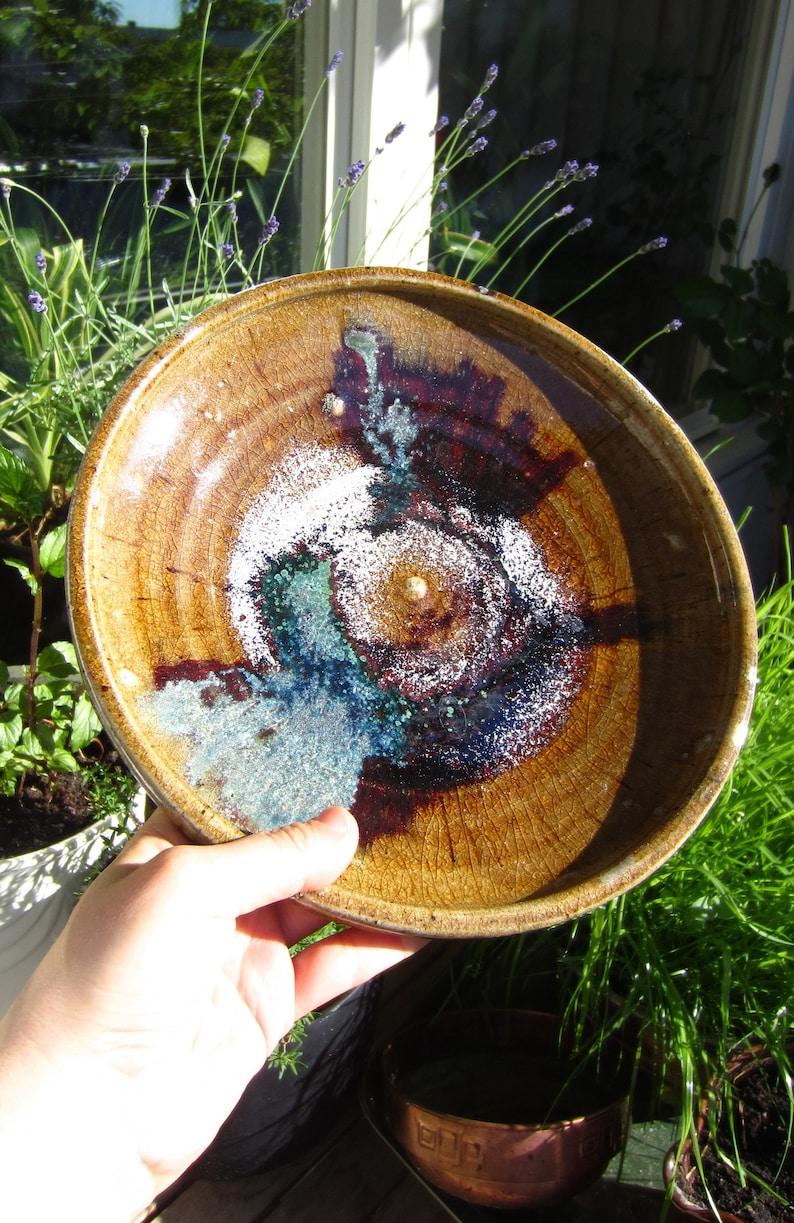 Swedish large and special glazed ceramic dish  plate  bowl Multi color glaze Signed Sweden Vintage Retro Scandinavian studio pottery Gift
