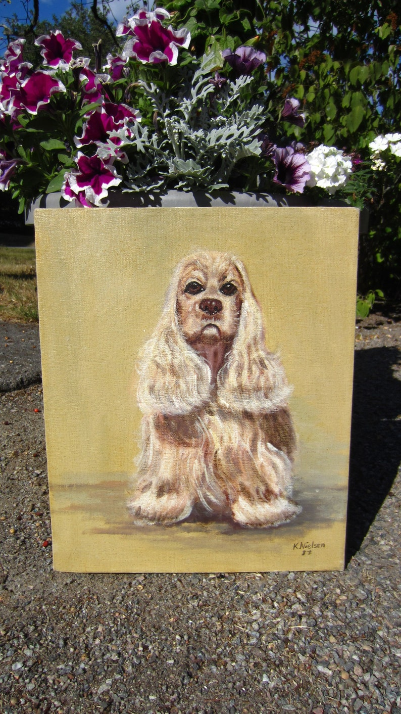 ad1b6aa04d52 Vintage Oil painting Cocker Spaniel Signed K. Nielsen Danish? Denmark? Dog  portrait Oil on canvas picture Scandinavian art Cute puppy gift