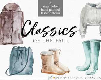 23c8848af58 Watercolor Fashion Items, Clothes Clipart, Watercolor Clothes, Watercolor  Boots, Watercolor UGG, Hoodie, Jacket Clipart, Winter Clipart