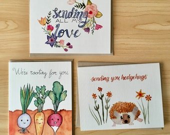 4e73966be9a Set of 3 Encouragement Cards   Variety Pack of Watercolor Cards  Sending  Love Card