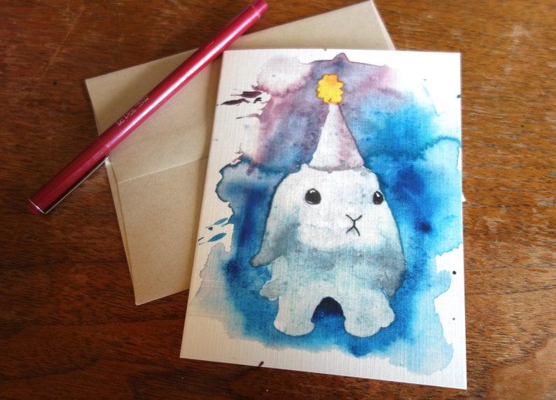 Watercolored Bunny Birthday Card Watercolor Cute