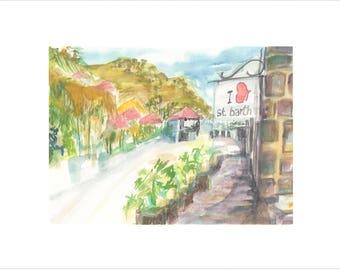 Barts Print  Watercolor St Watercolor St Barths Print  Watercolor City Print  Watercolor City Art  St Barth\u00e9lemy  Gustavia